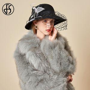 FS Elegant Womens Dress Hats Wool Fascinator Felt Fedoras With Veil Black Red Wedding Party Hat Chapeau Femme Mariage