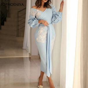Chá Comprimento Mãe Vestidos Com Decote Em V Manga comprida vestidos de noite 2019 Dubai árabe vestido de noite Vestido de festa abiye gece elbisesi vestido formal