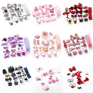 18pcs / set Baby-Mädchen-Kind-Haar-Bögen Zubehör Hairpin Hair Rope Princess Bogen Clips Kinder Pompom-Stern-Blumen-elastisches Band headress M1769