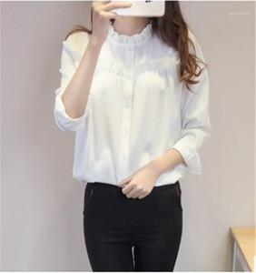 Panelli Formal Tops Kadın Saf Renk Giyim İlkbahar Bayan Tasarımcı Gömlek Uzun Kollu Ruffled Yaka Gömlek