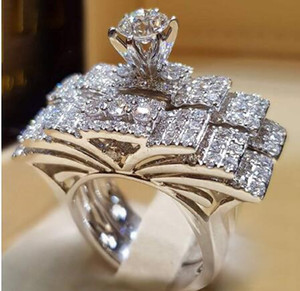 New Brand Multi-layer Cubic Zirconia Wedding Engagement rings For Women Silver Color Women Jewelry