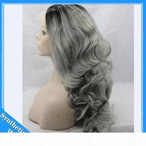 L 26 &#039 ;&#039 ;Long Ombre Grey Wigs Natural Cheap Hair Wavy Grey Gray Synthetic Wigs For Black White Women Gray Silver Ombre Female