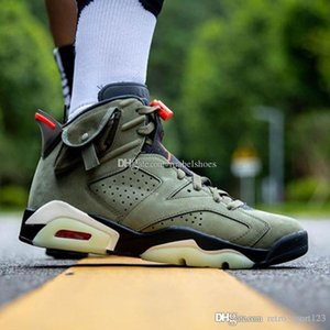 Travis Scotti x Basketball Shoes 6s Cactus Jack Army Green 2019 Released Top Suede Mens High Sport Sneakers Trainer