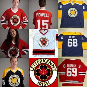 IRISH Serie de TV Letterkenny Jersey 15 POWELL 69 SHORESY 68 tréboles 85 NAPPY BOY 100% cosido jerseys de hockey sobre hielo