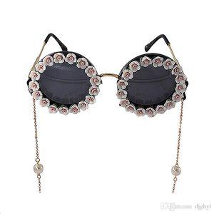 New Design Fashion Statement Colorful Flower Summmer Beach Sunglass Women Handmade Flower Holiday Gifts Pearl Golden Chain Sun Glasses