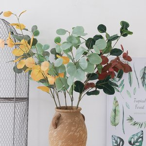 planta verde 92cm plástico artificial Eucalipto Eucalipto Simulación dejar falso de la flor artificial para la decoración de la boda