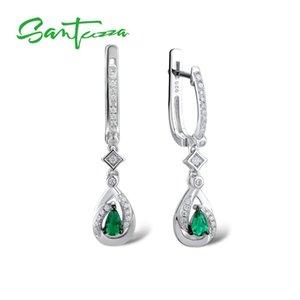 SANTUZZA Silver Drop Earrings For Women 925 Sterling Silver Dangle Earrings Long Silver 925 with Green Crystal Fashion Jewelry CX200628