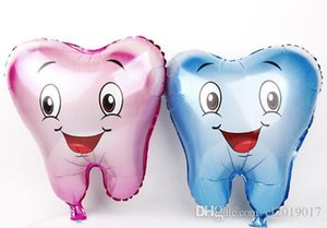 200pcs lot Large Tooth Shaped Foil Balloons Pink Blue Color Kids Lovely Air Inflatable Balloon for Birthday Party Decoration