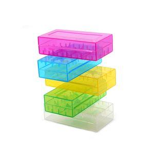Realizacion de la caja portable 18650 caja de batería de almacenamiento caja de acrílico caja de seguridad de plástico de colores para 18650 y 16340 de la batería (6 colores)