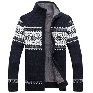 Men sweater thick zipper 2020 new winter male stand collar plus velvet thermal sweater teenage boys knitted cardigan coat M42