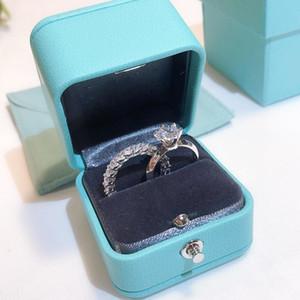 100% réel 925 marque en argent sterling Promise Ring Set 5A Zircon Sona Cz bande de fiançailles Anneaux de mariage pour les bijoux doigt femmes