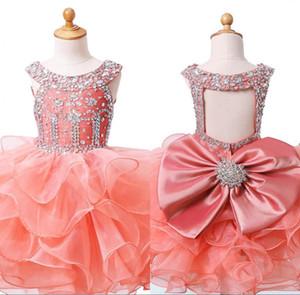 lumière mignon Coral Baby Girls Pageant Robes Big Bow cristal organza à volants Première Communion robe occasion spéciale de fête d'anniversaire Robe