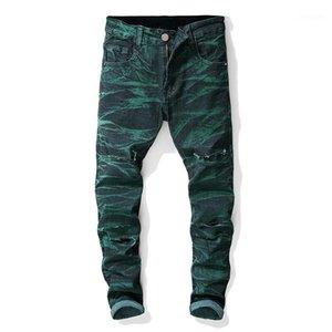 Erkek Jeans Orta Bel Düzenli Distrressed Erkek Giyim Düz Tasarımcı Erkek Kot Delikler Stretch Batik Uzun