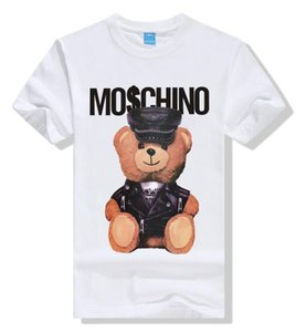 2019 Moda LuxoMoschino Designers Camiseta Hip Hop Branco Mens Roupa descontraída camisetas para homens com letras impressas TShirt Tamanho S-3XL