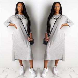 Abiti Casual Fashion Side Split irregolare Panelled vestiti delle donne Designer Abbigliamento casual donne della stampa della lettera delle donne