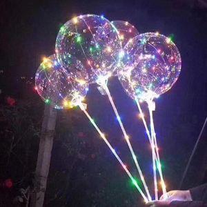 LED Bobo Balloon With 31.5inch Stick 3M String Balloon Light Christmas Halloween Wedding Birthday Party Decoration Bobo Balloons