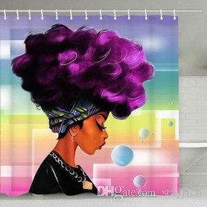 3D India Girl Africa Woman Shower Curtain Hook Art Printing Home Decorate Water Mildew Proof Polyester Fiber Bathroom Accessories
