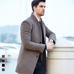 Brasão Casual Designer Homens Winter Blends Outono Coats Jacket Casacos de lã longo Slim Fit