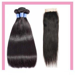 L Indian Raw Virgin Hair 3 Связка с 4 * 4 шнурком Закрытие с ребенком утками волоса с 4x4 Lace Closure Straight человеком Оптового волоса