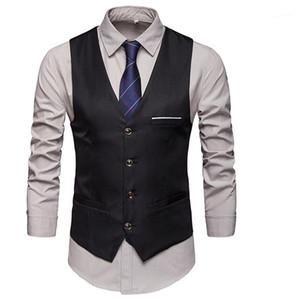 Button Mäntel Herren Tasche dünne natürliche Farben-Oberbekleidung Herren Designer Ärmel Westen Male Formal V-Ausschnitt