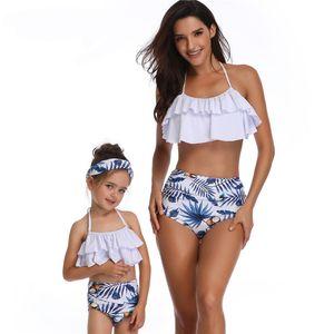 2adet Marka fırfır Mayo Seksi Biquinis Kadınlar Ebeveyn-çocuk Mayo Çiçek Baskılı Vintage Çiçek Alt Halter Bikini Seti Mayo