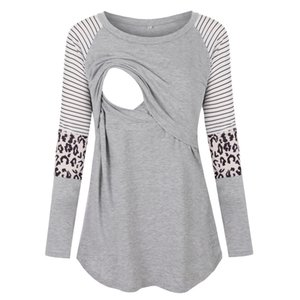 Women Maternity Shirt Nursing O-neck Clothes Long Sleeve Printed Blouse Tops Clothing For Breastfeeding #es
