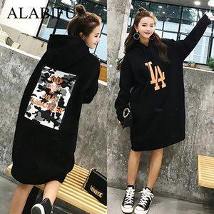 ALABIFU Long Spring Autumn Dress 2019 Frauen Hoodies Sweatshirts Kleid Casual Print Floral Plus Größe Harajuku Jacke Mantel BTS 5XL