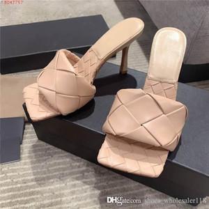 L'inizio della primavera 2020 rosso nero bianco rosa in pelle intrecciata testa quadrata col tacco alto pantofole sandali Altezza tacco 8,5 cm con box