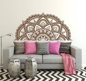 Design moderno mezzo Mandala Fiore modello muro Adesivi Per Camera Testata Sticker murale Boho Style Arte murale Soggiorno