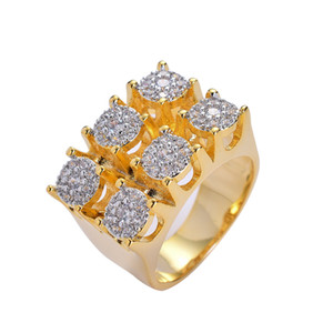 Hip Hop Men's Iced Out Ring Gold Plated Zircon Copper Ring Men Women Charm Luxury Jewelry