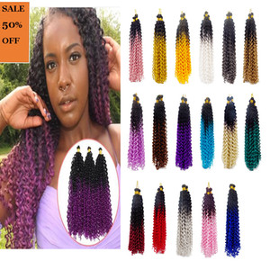 Water Wave Synthetic Crochet Braids Fashion Ombre Two Tone Colors Fiber Twist Hair Extensions 100g Pack 14 inches
