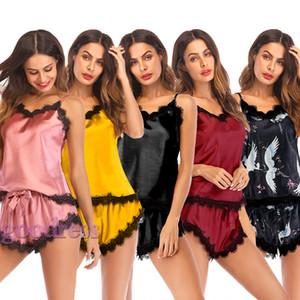 Женские летние пижамы из искусственного шелка из двух частей пижамы V-образным вырезом Ресницы с цветочным кружевом без рукавов майка с бантом шорты ночное белье для дома одежда