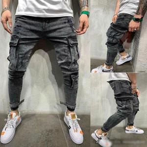 2020 Mens Black Designer Jeans Frühling große Taschen-Bleistift-Hosen zerrissene Biker Jean-Hose