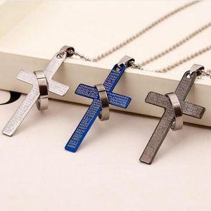 Arbeiten Sie Edelstahl-Anhänger Christian Bibel Gebet Kreuz Anhänger Männer Halskette Charme Geschenke Schmuck GB72