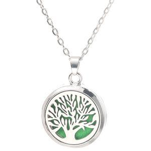 Tree Of Life Aroma colar caixa Magnetic aço inoxidável Essential Oil Difusor Perfume Box medalhão Pendant Jewelry