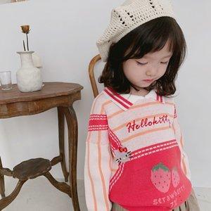 Desgaste Tonytaobaby Otoño Invierno traje nuevo del bebé encantador de los niños raya fresa suéter de la niña de suéter