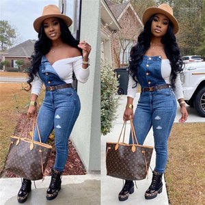 Females Rompers Street Style Sweety Womens Apparel Denim Womens Jumpsuit Holes Solid Color