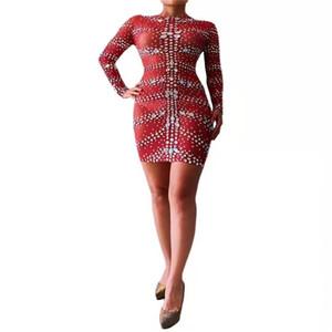 T76 Weibliche Bühnentanz Kostüme sexy Kristall elastische Strass Hüfte Kleider Abend trägt Diamanten roten Outfit Sänger Tuch Party Rock trägt