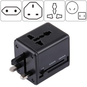 World-Wide Universal Travel Concealable Plugs Adapter with & Built-in Dual USB Ports Charger for US, UK, AU, EU