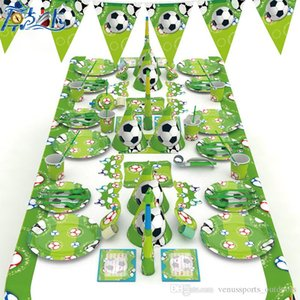 Kids World Cup Sports Football Theme Essgeschirr-Geburtstags-Party Ist Geschirr Sets Serviette Cups Tischdecke Flag-Partei-Dekoration