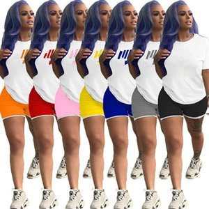 Womens sportswearshort sleeve outfits two piece set tracksuit summer women clothes tops + shorts casual sport suit new hot selling klw3963