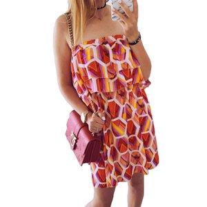 캐주얼 여름 드레스 여성 2018 Shoulde Strapless Backless 튜브 Sukienka 여성용 스트라이프 체크 무늬 오렌지 비치 Sundress 짧은