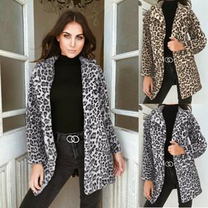 Le donne inverno Faux Fur leopardo Fleece pelliccia soprabito Giacche Fluffy Coat Jackets Apri Stitch Outwear