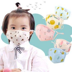 Дизайнер маска для лица Симпатичные дети хлопка маски моющийся пылезащитный Упругие Ear Loop Fancy Мультфильм Печатные лисица Дети Mouth крышки