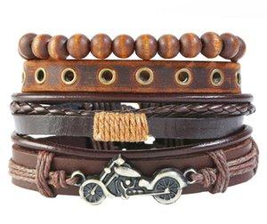 2020 Hot sale 100% genuine leather bracelet DIY Multiple motorcycle wax rope Beading Men's Combination suit Bracelet 4styles 1set
