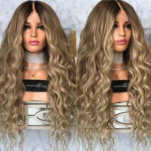 Shuowen 26 pouces synthétique vague profonde perruque de cheveux Remy Blond foncé Simulation de cheveux humains Perruque machine Fait douce perruque-164