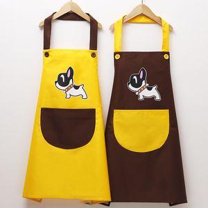 Casal Bonito Avental Do Cão À Prova D 'Água e À Prova De Óleo Avental Cozinha Cozinhar Avental De Cozimento Dos Homens e Mulheres Adultos Vestidos