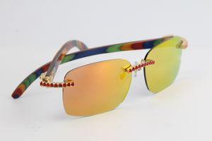 Verkaufsrandlose Brille Handmade Big Stones Original-Holz 8200759 Sonnenbrillen Mode-Qualitäts-Brillen männliche und weibliche C-Dekoration Gold