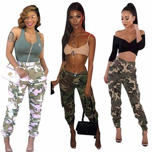 Fashion Women Camouflage Pants Pencil Pants Long Trousers with Side Pocket Belt Loose Sweat Pants Hip Hop Strearwear Sports Clothes INS