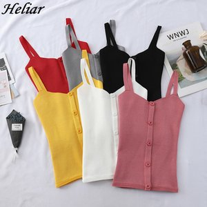 HELIAR All Match Vest Female Summer Sleeveless Knitting Inside Bottom Short Sexy Crop Top Club Solid Tank Tops With Buttons T200706